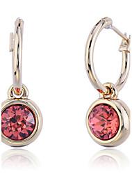 Viseće naušnice Moda Europska Kristal Pozlaćeni imitacija Diamond Circle Shape Geometric Shape Crvena Jewelry Za Party Dnevno Kauzalni