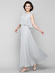 cheap -A-Line Bateau Neck Ankle Length Chiffon Mother of the Bride Dress with Sash / Ribbon Sequins by LAN TING BRIDE®
