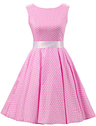 cheap -Women's Pink White Mini Polka Dot Dress , Vintage Sleeveless 50s Rockabilly Swing Short Cocktail Dress