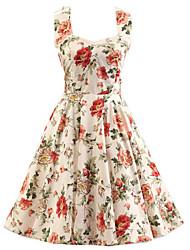 Trapèze Robe Femme Soirée / Cocktail Vintage,Fleur Licou Mi-long Sans Manches Beige Coton Toutes les Saisons