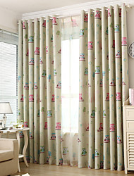 cheap -Two Panels Owl Kids  Blackout Printing Curtains Shades