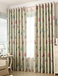 preiswerte -zwei Panele Window Treatment Rustikal / Modern / Neoklassisch / Mediterran / Europäisch , Tier Schlafzimmer Polyester Stoff