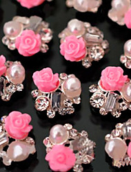 cheap -10pcs/set Nail Art Decoration Tips Glitter Rhinestone Pink Rose Flower decoration