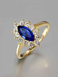 cheap -2015 Fashion Noble 18K Blue CZ Stone Gold Plated Exaggerate Band Rings For Woman