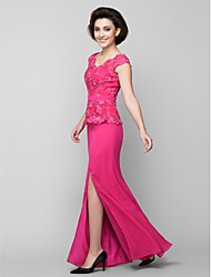 cheap -Mermaid / Trumpet V-neck Floor Length Chiffon Lace Mother of the Bride Dress with Lace Ruching by LAN TING BRIDE®