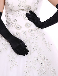 Ladies'Elbow Length Glove Black Party Wedding Fingertips Glove Opera Length With DIY Pearl and Rhinestone