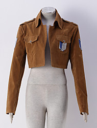 abordables -Inspirado por Attack on Titan Eren Jager Animé Disfraces de cosplay sudaderas Cosplay Un Color Estampado Manga Larga Chaqueta Para Hombre