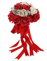 economico -Bouquet sposa Tondo Rose Bouquet Matrimonio Schiuma 24cm