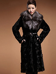 Women's Party Casual/Daily Plus Size Simple Vintage Street chic Winter Fur Coat,Solid Peter Pan Collar Long Sleeve Maxi Faux Fur belt not included
