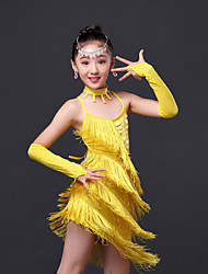 cheap -Latin Dance Dresses Performance Polyester Crystals / Rhinestones Tassel Sleeveless High Dress Gloves Neckwear