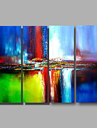 Ready to Hang Stretched Hand-Painted Oil Painting Four Panels Canvas Wall Art Modern Red Blue Green Abstract