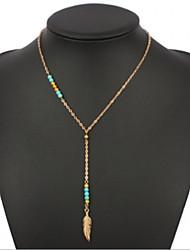 Недорогие -бисером бирюзовый металлический перо кисточкой ожерелье классический женский стиль