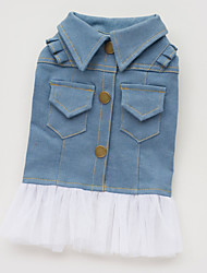 cheap -Dog Dress / Denim Jacket / Jeans Jacket Dog Clothes Jeans Blue Cotton Costume For Pets Summer Women's Fashion