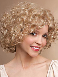 Women Synthetic Wig Short Curly Blonde Halloween Wig Carnival Wig Costume Wig