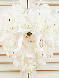 cheap -Hanging Rose Flower with Rhinestone Ring Pillow Wedding Ceremony