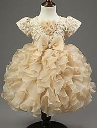 Mädchen Kleid einfarbig Polyester Frühling / Herbst Gold