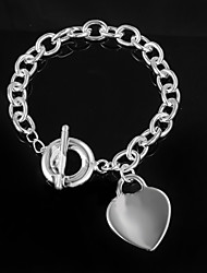 cheap -Women's Sterling Silver Chain Bracelet - Unique Design Fashion LOVE Silver Bracelet For Wedding Party Daily