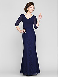 Mermaid / Trumpet V-neck Ankle Length Chiffon Lace Mother of the Bride Dress with Lace by LAN TING BRIDE®
