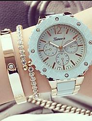 economico -Per donna Orologio alla moda Orologio braccialetto Quarzo Cronografo Lega Banda Nero Bianco Verde Rosa Kaki
