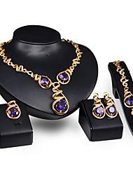 Femme Améthyste bijoux de fantaisie Cristal Alliage 1 Paire de Boucles d'Oreille 1 Bracelet Colliers décoratifs Anneaux Pour Mariage