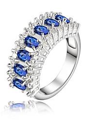 abordables -Femme Anneau de déclaration - Strass, Plaqué argent Mode 8 Bleu Pour Mariage / Soirée / Quotidien / Cristal
