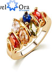 billige -Dame Band Ring - Kvadratisk Zirconium, Guldbelagt Mode, Elegant En størrelse Rose Guld Til Fest