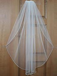 Véus de Noiva Uma Camada Véu Cotovelo Véu Ponta dos Dedos Borda Enfeitada Tule Branco Bege