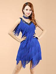 preiswerte -Latin dance dresses Frauen Performance V-Ausschnitt Polyester Quaste Kleid von shall we®