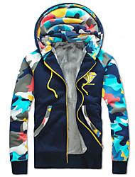 cheap -Men's Fashion Camouflage Print Plus Velvet Hooded Cardigan Thick Sweatshirt