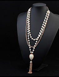 cheap -Women's Pearl Alloy Pearl Necklace Statement Necklace - Pearl Alloy Tassel Fashion Necklace For Party Special Occasion Birthday Gift