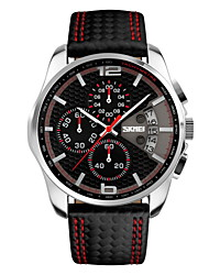 cheap -SKMEI® Men's Fashion Sport Dial Chrono Date Leather Strap Quartz Watch Cool Watch Unique Watch