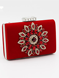 cheap -Women Bags Satin Evening Bag Beading Crystal/ Rhinestone for Wedding Event/Party Black Red