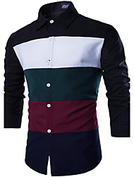 cheap -Men's Long Sleeve Shirt , Cotton / Polyester / Nylon Casual / Work Striped LENCH19