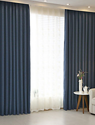 cheap -Rod Pocket Grommet Top Tab Top Double Pleat Pencil Pleat Two Panels Curtain Modern , Jacquard Solid Bedroom Linen / Cotton Blend Material