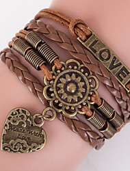cheap -Multilayer LOVE Heart Peandant Weave Bracelet,Brown inspirational bracelets Christmas Gifts