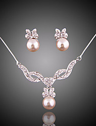 cheap -Women's Imitation Pearl Jewelry Set Earrings / Necklace - Bridal / Elegant Jewelry Jewelry Set / Drop Earrings / Pendant Necklace For