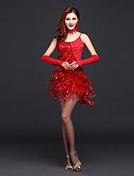 abordables -Danse latine Robes Femme Utilisation Polyester Paillette / Gland / Cristaux / Stras Sans Manches Taille haute Robe / Gants / Tour de Cou / Spectacle