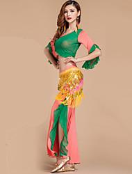 Danza del ventre Completi Per donna Da esibizione Rayon Poliester Con balze 2 pezzi Top Pantaloni