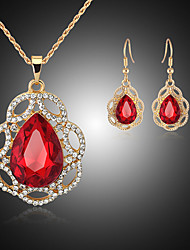 May Polly  Europe and the United States New Crystal Pendant Necklace Earrings Set
