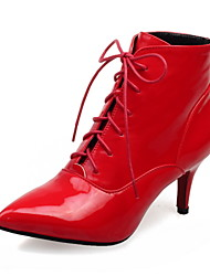 cheap -Women's Boots Comfort Winter PU Walking Shoes Dress Party & Evening Lace-up Stiletto Heel Black Silver Ruby 2in-2 3/4in