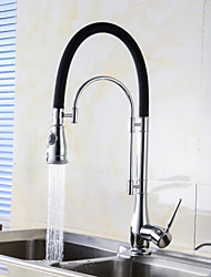 cheap -Kitchen faucet - Contemporary Chrome Pull-out / Pull-down Centerset