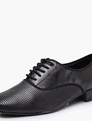 cheap -Modern Men's Dance Shoes Heels Breathable Leather Low Heel Black