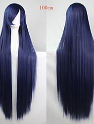 Недорогие -Парики из искусственных волос Прямой Ассиметричная стрижка Искусственные волосы Природные волосы Синий Парик Жен. Длинные Без шапочки-основы Синий