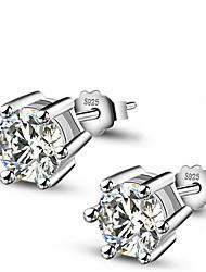 Feminino Brincos Curtos bijuterias Prata de Lei Jóias Para Casamento Festa Diário