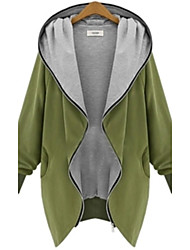 cheap -Women's V Neck Zipper Plus Size Hooded Cardigan Coat Warm and comfortable
