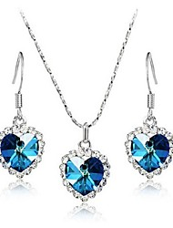 cheap -High Quality Crystal Heart Pendant Jewelry Set Necklace Earring (Assorted Color)