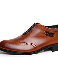 baratos -Masculino-Oxfords-Conforto sapatos Bullock-Salto Grosso Salto de bloco-Preto Marron-Courino-Casamento Escritório & Trabalho Festas & Noite
