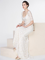 cheap -Mermaid / Trumpet Scoop Neck Sweep / Brush Train Lace Wedding Dress with Lace Button by LAN TING BRIDE®