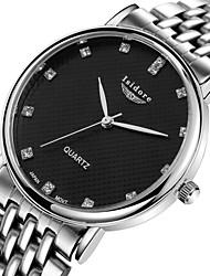 Masculino Relógio de Pulso Quartzo Impermeável Aço Inoxidável Banda Prata Preto