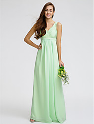 cheap -Sheath / Column V Neck Floor Length Chiffon / Lace Bodice Bridesmaid Dress with Lace / Sash / Ribbon by LAN TING BRIDE®